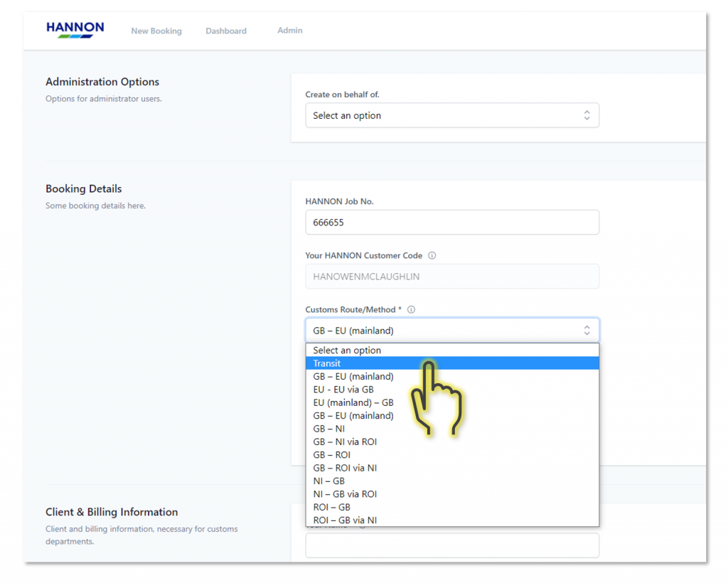 Simplified Transit option in HANNON Customs Portal